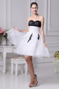 Knee-length Appliques Ruching Beading Cocktail Dress in Hanover