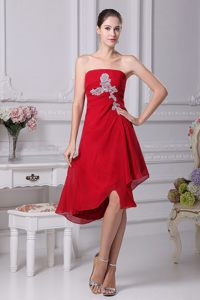 Wine Red Applique Strapless Wedding Cocktail Dress in Hamburg
