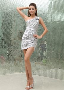 Silver One Shoulder Mini-Length Ruched Cocktail Dresses in Berlin