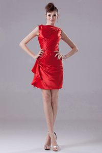 Red Mini-length Bateau Wedding Cocktail Party Dress in Cannes 2014