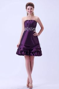 Dark Purple Beaded Knee-length Cocktail Dress For Prom in Lyon