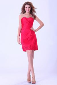 Red Mini-length Prom Cocktail Dress with Hollow Flowers in Paris