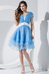 Baby Blue Embroidery Knee-length Cocktail Dress in Southampton