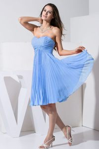 Aqua Blue Knee-length Pleat Cocktail Dress with Beading in Dover