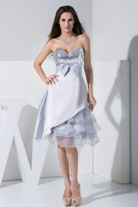 Grey Tea-length Sequin Bowknot Ruffled Cocktail Dress in London