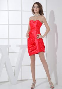Red Mini-length Ruching Cocktail Dress For Prom in United States