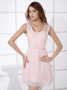 Light Pink Straps Mini-length Cocktail Reception Dress in Wyoming