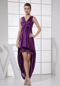 Purple V-neck Front Short Back Long Cocktails Dresses in Wisconsin