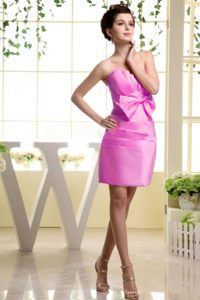 Strapless Pink Bow Dress For Wedding Cocktail Party in Washington