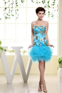 Baby Blue Appliques Homecoming Cocktail Dress in Vermont Ruffled
