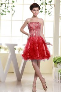 Red Beading Ruffles Mini-length Prom Cocktail Dress in Utah 2014