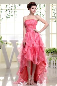 2013 Coral Red High-low Ruffle Layers Cocktail Dress in Tennessee