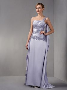 Lilac One Shoulder Brush Train Cocktail Dress For Prom in Ohio