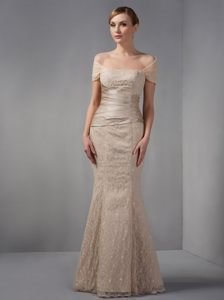 Champagne Mermaid Floor-length Lace Cocktail Dress in North Dakota