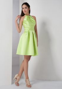 Yellow Green A-line High-neck Evening Cocktail Dress in New York