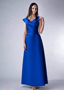 Royal Blue Column V-neck Ankle-length Cocktail Dresses in Montana