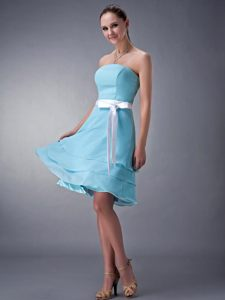 2014 Aqua Blue Strapless Knee-length Cocktail Dress in Mississippi