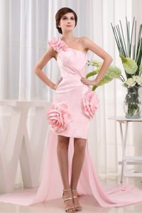 One Shoulder Baby Pink High-low Cocktail Party Dress in Indiana