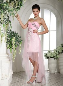 Baby Pink Beaded High-low Cocktail Reception Dresses in Illinois