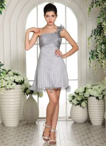 2013 Gray Ruche One Shoulder Cocktail Dress For Celebrity in Idaho
