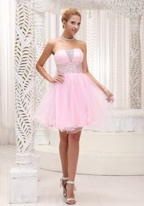 Baby Pink Strapless Mini-length Beaded Cocktail Dress in Colorado