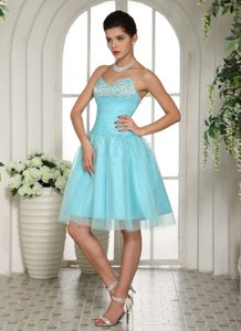 Aqua Blue Sweetheart Beaded Knee-length Cocktail Dress in Arkansas