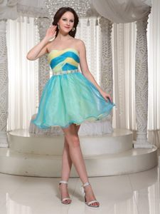 Multi-colored Beaded Mini-length Organza Cocktail Dress in Alabama