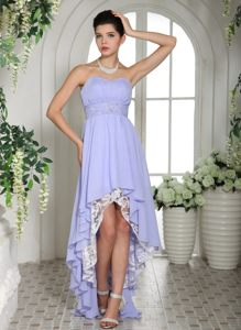 Beaded Decorate Waist Lilac Chiffon High-low Homecoming Cocktail Dresses in Dover