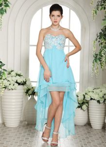 Sweetheart High-low Aqua Blue Appliques Hartford CT Cocktail Dress for Prom