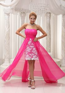 Hot Pink Chiffon Ruched Bodice High-low Lace Skirt Colorado Prom Cocktail Dress