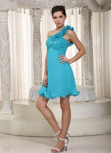 One Shoulder Teal Chiffon Beading Handmade Flowers Evening Cocktail Dress in Little Rock