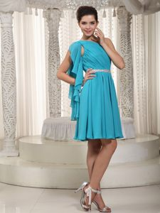 Flounced Teal One Shoulder Chiffon Wedding Cocktail Party Dress in Montgomery
