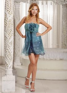 Navy Blue Ruched Bust Handmade Flower Cocktail Dress with Turquoise Organza Overlay