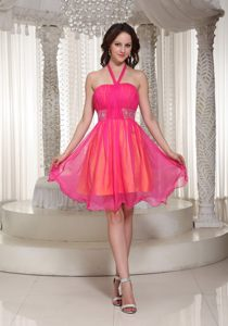 Juneau Halter Neck Beaded Decorate Hot Pink Homecoming Dress for Cocktail