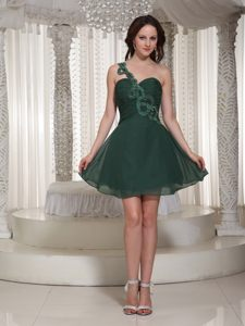 One Shoulder Peacock Green Ruched Bodice Chiffon AR Homecoming Cocktail Dresses