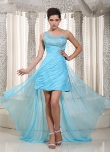 High-low One Shoulder Aqua Blue Beaded Bust Ruched Skirt Cocktail Dress for Prom