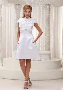 High-neck White Ruffled Decorate Bodice Cocktail Party Dresses with Cap Sleeves in CA