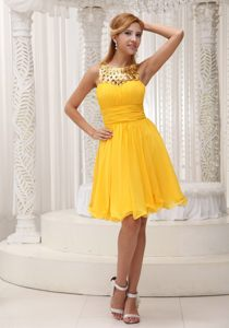 Yellow Ruched Bodice Denver Evening Cocktail Dress by Sequined Fabric and Chiffon