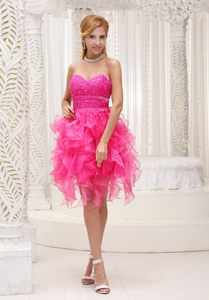 Hot Pink Beaded Decorate Bodice Ruffled Skirt Organza Cocktail Dresses in 2013 Dover