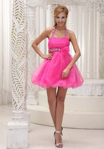 Beaded Decorate Halter Neck Handmade Flower Tallahassee Cocktail Dress in Hot Pink