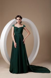 Dark Green Chiffon Beading Honolulu Homecoming Cocktail Dresses with Cap Sleeves