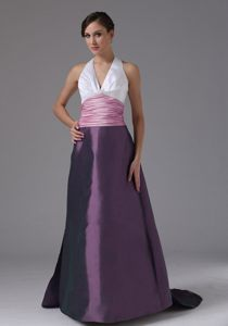 Halter Neck Ruched Prom Cocktail Dress with Brush Train for Springfield IL