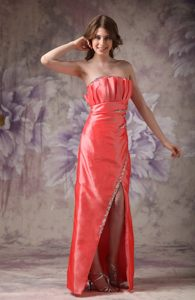 Topeka Orange Red Beading Floor-length Cocktail Dresses with Strapless Neckline