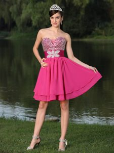 Beaded Decorate Bust Hot Pink Wedding Cocktail Party Dress by Chiffon in Baton Rouge