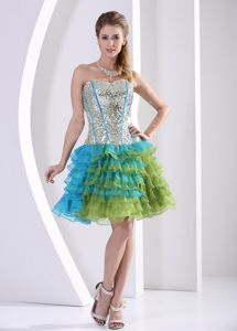 Multi-color Cocktail Dress for Celebrity with Sequined Bodice and Layered Skirt