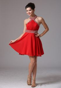 Boston Halter Beaded and Ruched Prom Cocktail Dress by Chiffon in Red Color