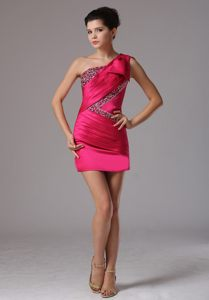 Hot Pink One Shoulder Cocktail Party Dresses by Sequined Fabric and Pleated Taffeta