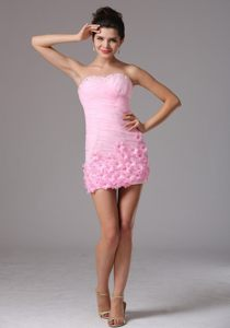 Baby Pink Ruched Cocktails Dresses with Appliques in Mini-length for St. Paul