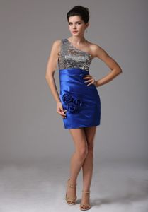 One Shoulder Blue and Silver Cocktail Dresses with Sequined Bodice and Taffeta Skirt