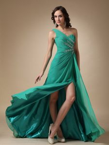 Jackson MS Turquoise One Shoulder Beading Cocktail Dress in Floor-length